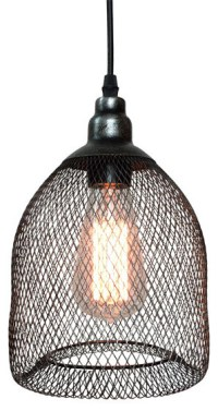 Vintage Industrial Pendant Lamp With Metal Mesh and Wire ...