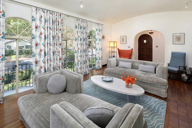 Spanish + Mid-century Modern - Midcentury - Living Room - San - mid century modern living room