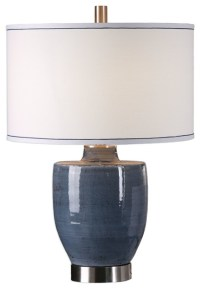 Rustic Cottage Blue Urn Table Lamp, Ceramic Pottery