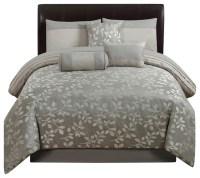 Platinum Leaves 7-Piece Comforter Set - Transitional ...