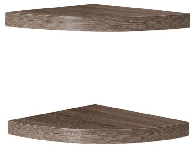 Danya B Rustic Weathered Oak Corner Radial Shelves Set Of