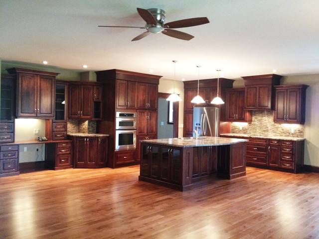 Large open concept Cherry kitchen - Traditional - Kitchen - open concept kitchen ideas