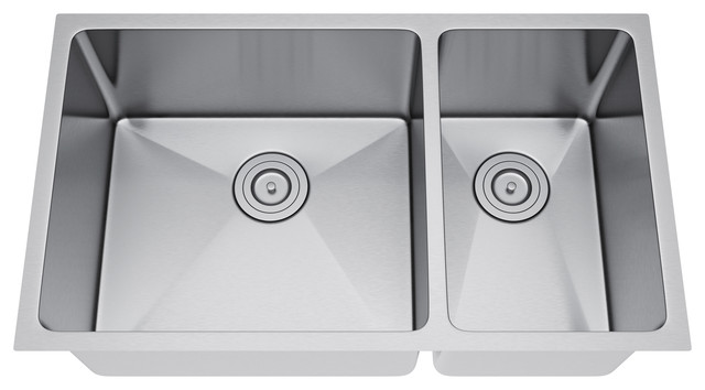 31quotx18quot Double Bowl 70 30 Undermount Stainless Steel