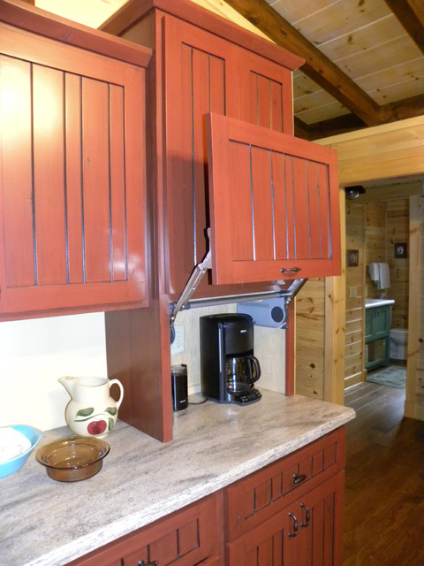 Houzz Dining Room Lighting Lift-up Door On Appliance Garage - Farmhouse - Kitchen