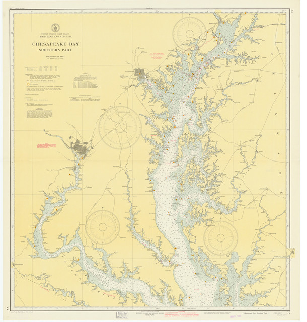 Chesapeake Bay Map, Northern Part, 1942 - Contemporary - Prints And