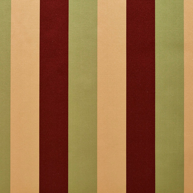 Burgundy, Green And Gold Thick Tri-Color Stripes Upholstery Fabric