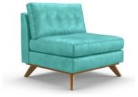 Hopson Leather Armless Chair - Brighton Polinesia Blue ...