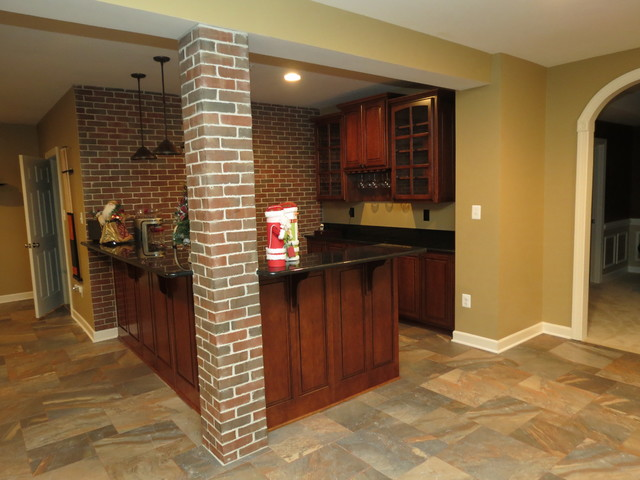 Basement Remodel With New Bar And Ceramic Tile Floor