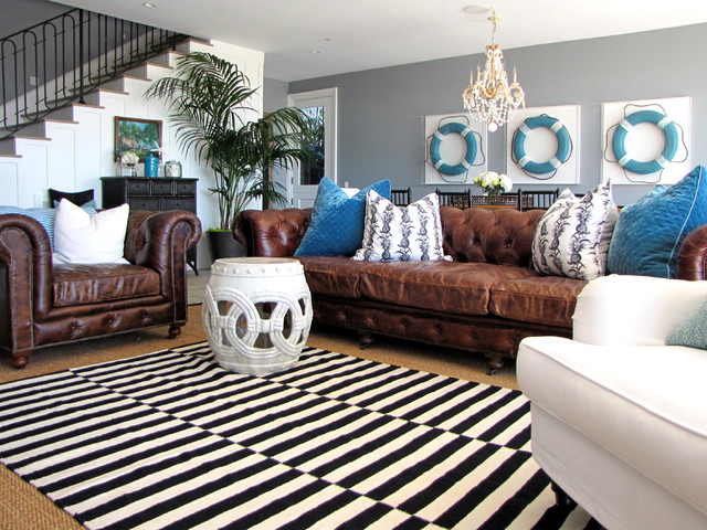The Sandberg Home - Traditional - Family Room - Orange County - by - brown leather couch living room