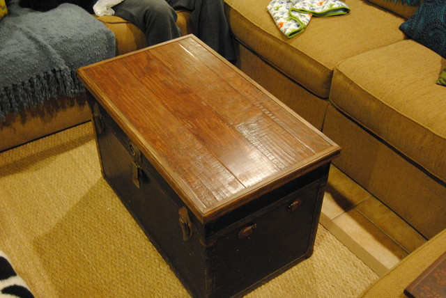 Trunk \/ Chest Topper Made from Scrap Wood Floor Material - living room chest
