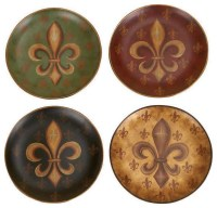 "Old World Tuscan Fleur-De-Lis Decorative 8"" Plate Set ..."