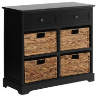 Premier Housewares Vermont Cabinet, Black, 2 Drawers and 4