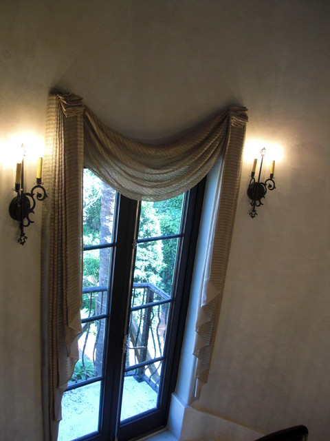 french door with valance and sconces
