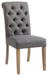 Gray Linen Button Tufted Side Chair, Set of 2 ...