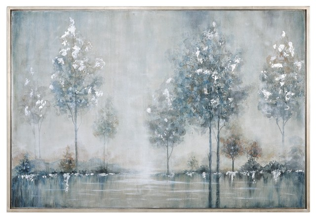 Silver Blue Trees Water Wall Art, Lake Painting - Contemporary