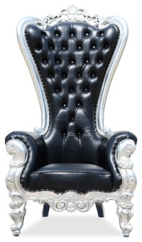 Absolom Roche Chair, Black Leather and Silver Leaf ...