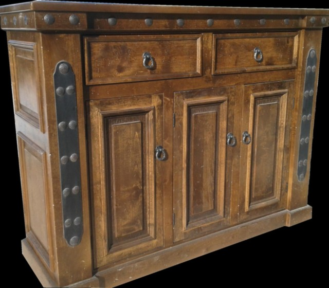 Dark Walnut Distressed Kitchen Cabinet Images Durango Custom Buffet - Rustic - Buffets And Sideboards