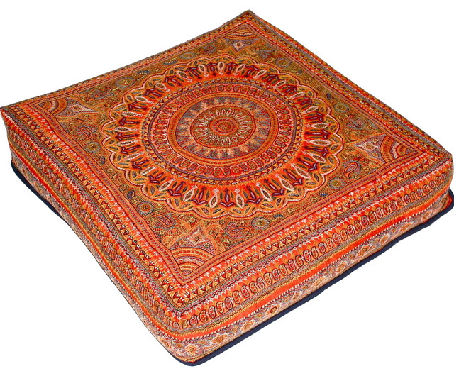 Consigned Antique Indian Embroidery Pouf Asian Floor