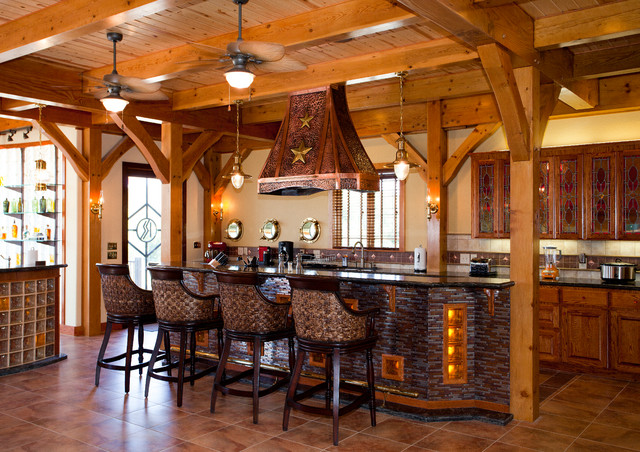 Rustic Texas Themed Furniture Nautical Themed Timber Frame Home - Rustic - Kitchen - Austin - by Texas Timber Frames