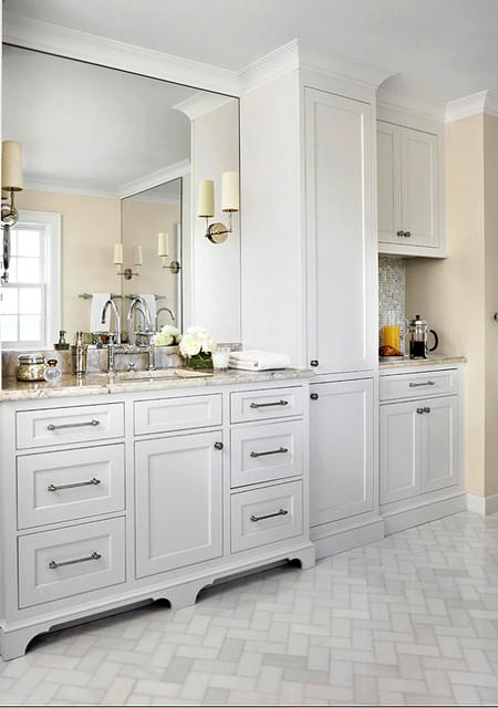 Glacier White Marble Tile Traditional Bathroom