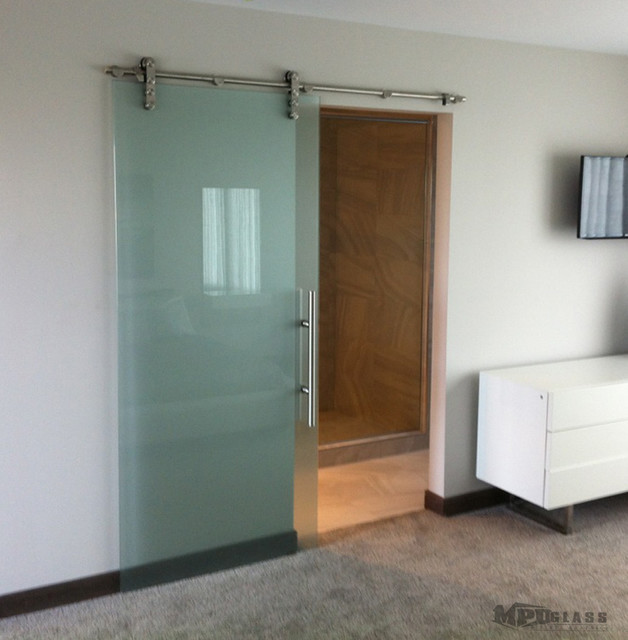 Sliding glass doors contemporary bedroom other by