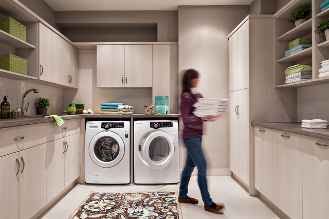 Kitchen Ideas With Light Wood Cabinets Beautiful Laundry Rooms - Contemporary - Laundry Room