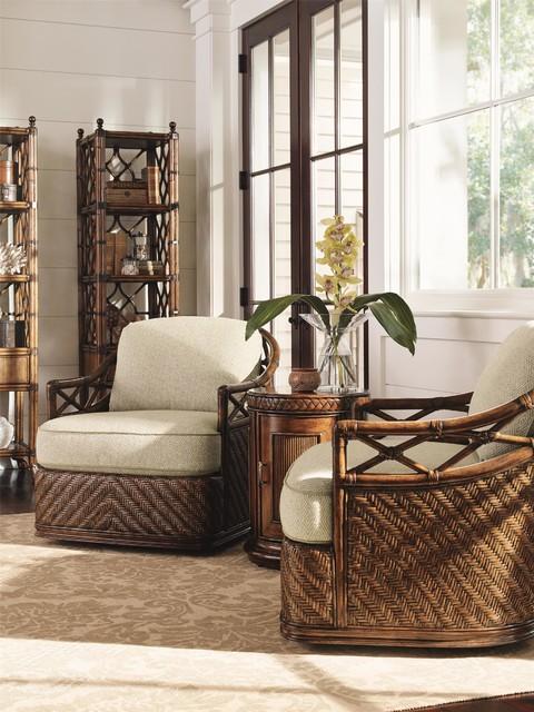 Tommy Bahama Home Bali Hai Diamond Cove Swivel Chair - Tropical - tropical living room furniture