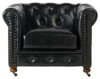 "Gordon Tufted Leather Chair - 32""Hx42.5""W, Black ..."