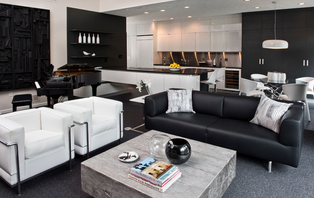 Chic Black and White - Contemporary - Living Room - Other - by - all white living room set