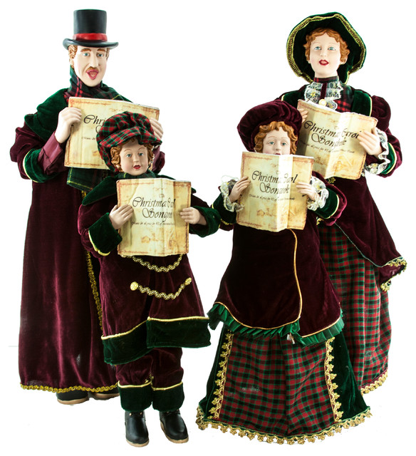 Christmas Caroling Family, Set of 4 - Holiday Accents And - christmas carolers decorations