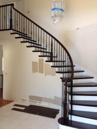 Curved Wood & Iron Railing & Wood Steps. - Transitional ...