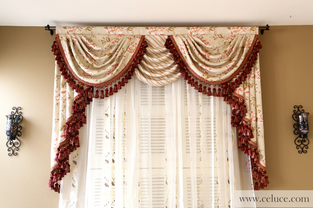 Valance curtains with swags and tails by celuce - Traditional - swag curtains for living room
