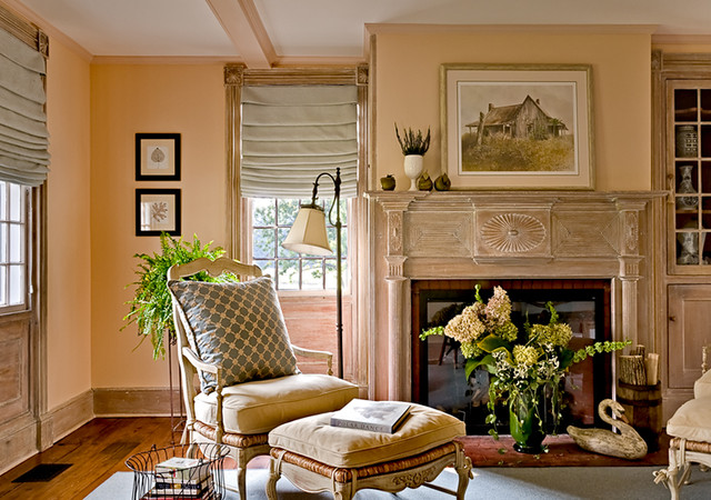 Dutchess County Farmhouse - Farmhouse - Living Room - New York - peach living room