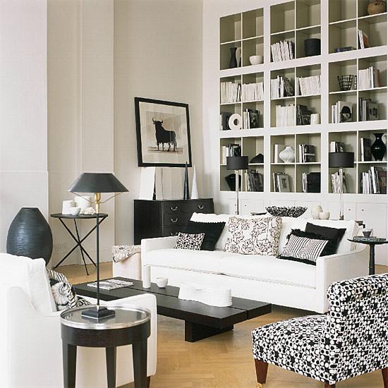 Black \ White living room - Contemporary - Living Room - Other - black and white living rooms