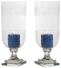 Greek Key Glass Hurricane Lamp Lantern, Set of 2 Candle
