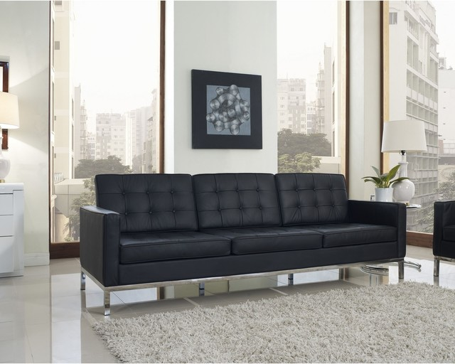 Sofa Set With Steel Legs Florence Style Black Leather Loft Sofa - Contemporary