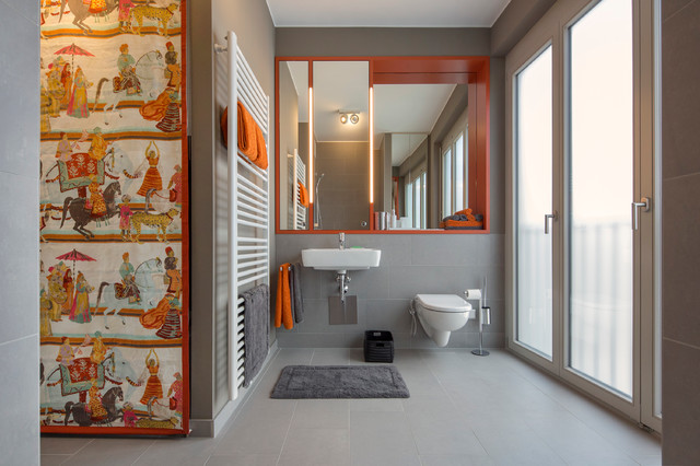 Orange Graues Modernes Badezimmer Contemporain Salle