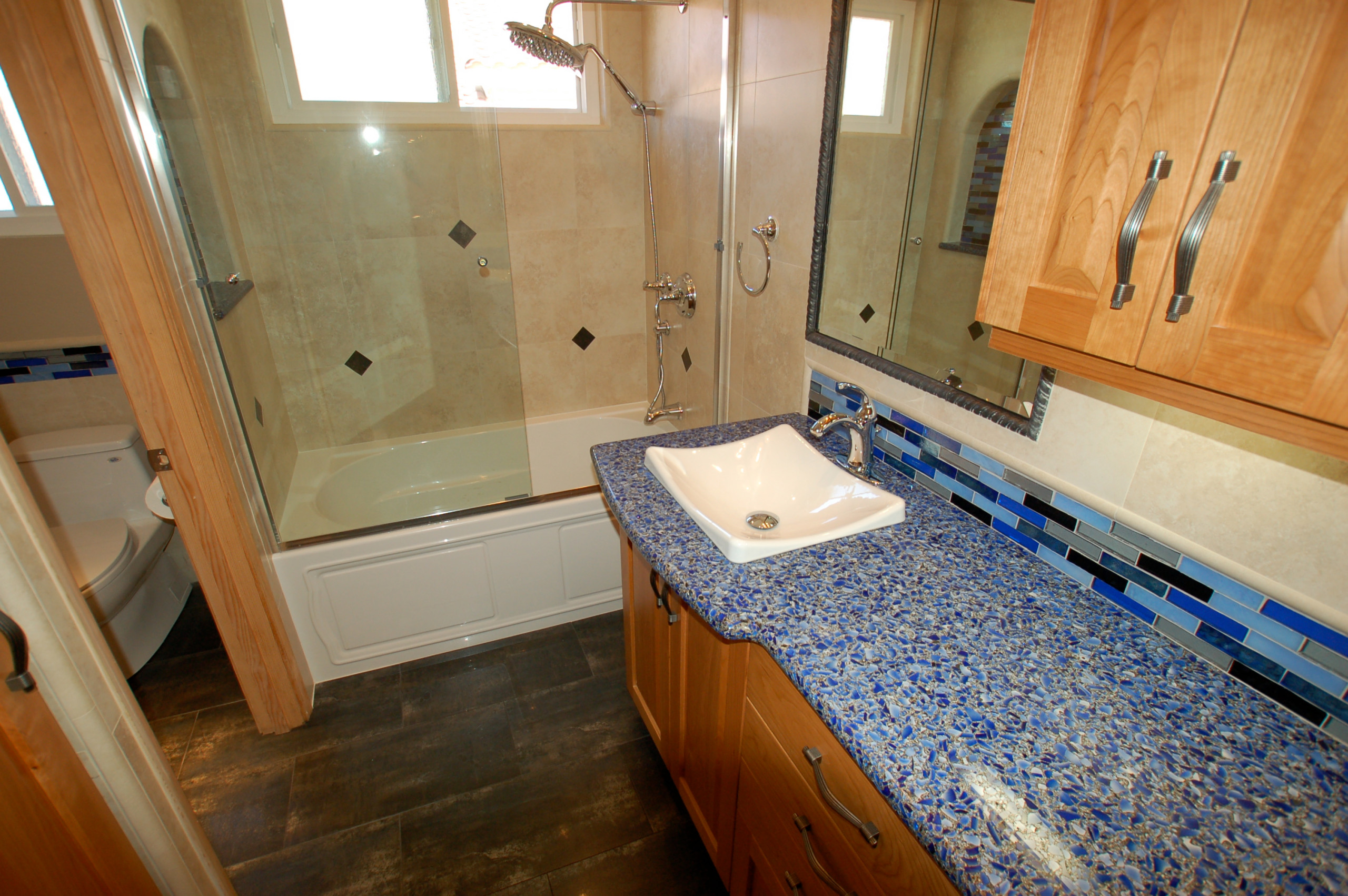 75 Beautiful Bathroom With A Vessel Sink And Recycled Glass Countertops Pictures Ideas January 2021 Houzz