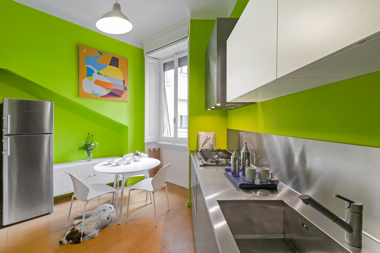 Dan Küche Arbeitsplatte Basin 75 Beautiful Green Kitchen With Stainless Steel Countertops Pictures & Ideas - April, 2021 | Houzz