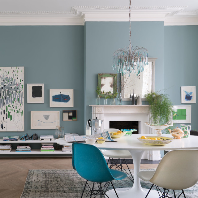 Farrow And Ball München A Dining Room Painted In Oval Room Blue No.85 By Farrow ...