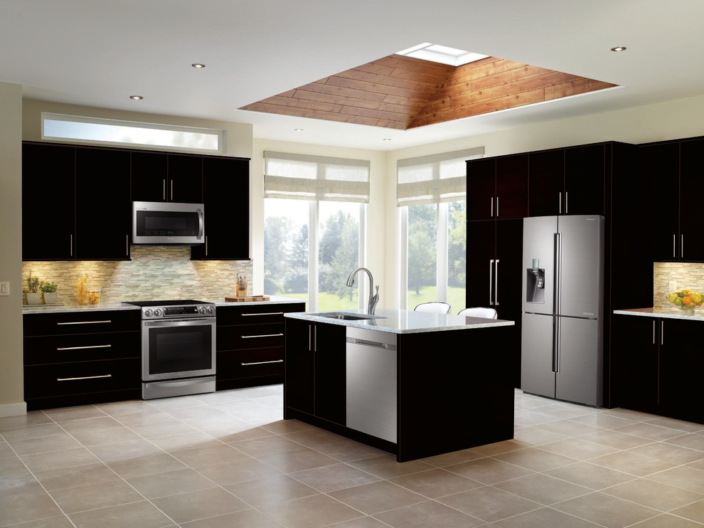 Samsung Black And Stainless Steel Kitchen Transitional