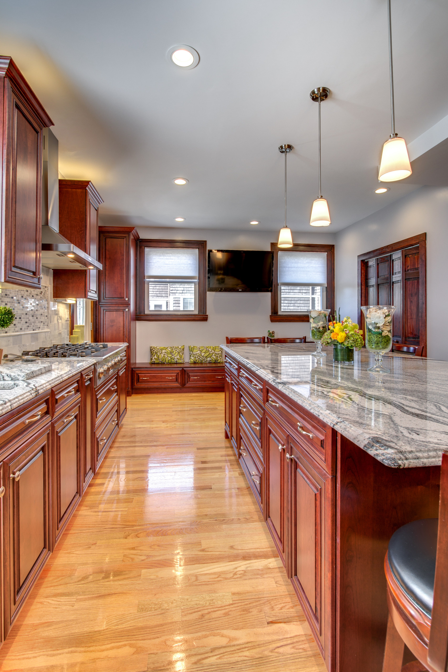Viscont White Granite Countertops With Cherry Cabinets Contemporary Kitchen Boston By Stone Projects Houzz