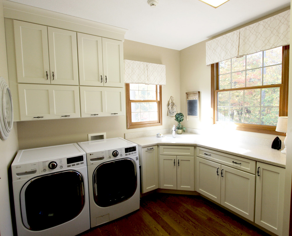 Cream Laundry Room With Corian Countertop Medina Oh Traditional Laundry Room Cleveland By Cabinet S Top