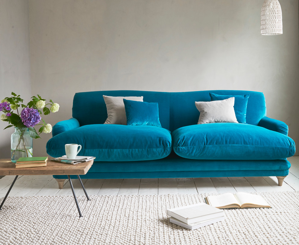 Pudding Sofa In Real Teal Clever Velvet Contemporary Living Room London By Loaf Houzz