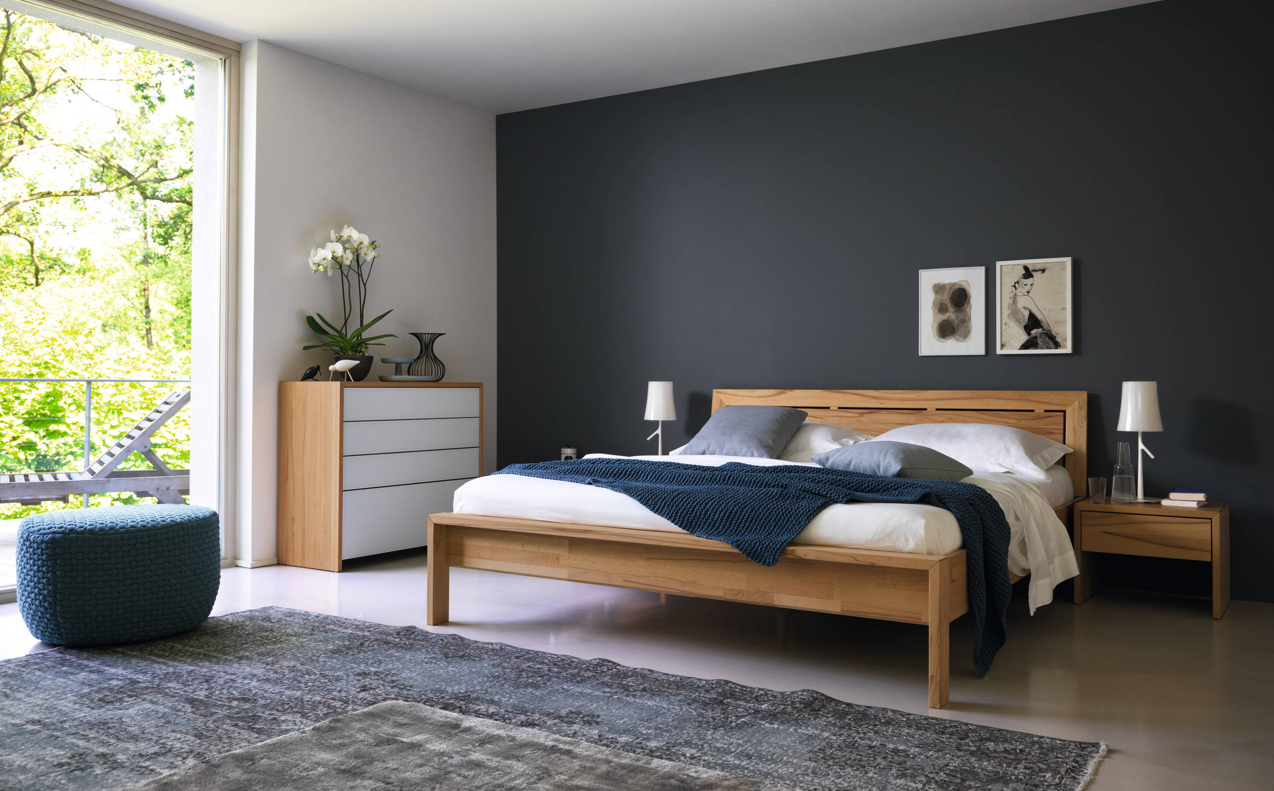 Naturholzbetten 75 Beautiful Concrete Floor Bedroom With Black Walls Pictures & Ideas - May, 2021 | Houzz