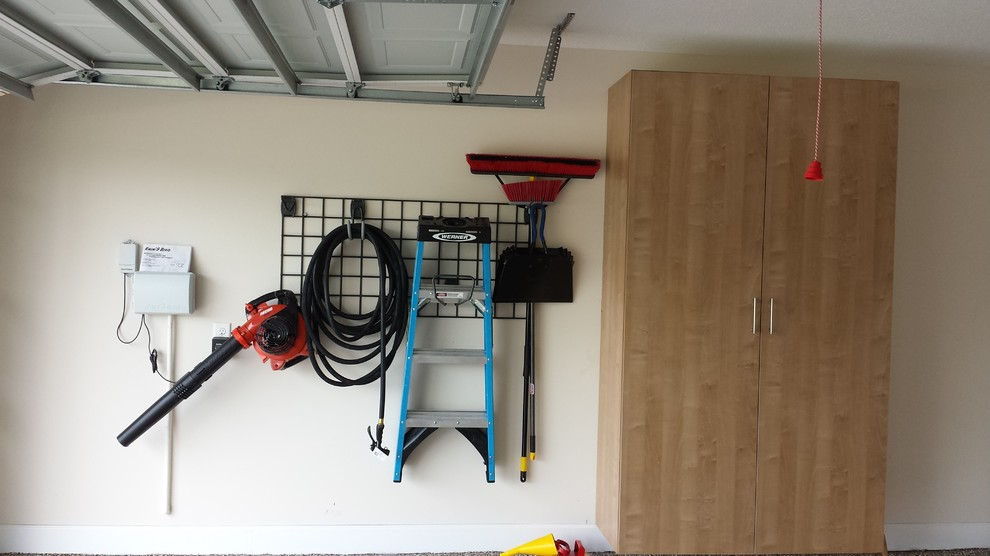 Garage Wall Storage In Grid System Traditional Shed