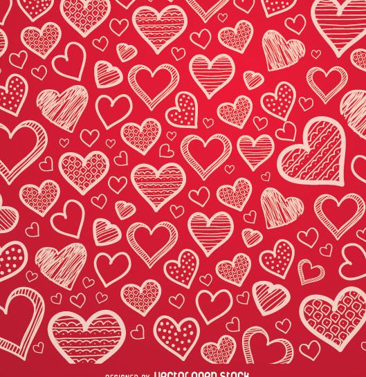 Cute Cartoon Angel Wallpaper Descargar Vector Corazones Rojos Fondo Dibujado A Mano