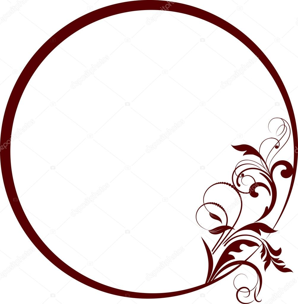 Round frame with decorative branch vector illustration vector by galinashpak