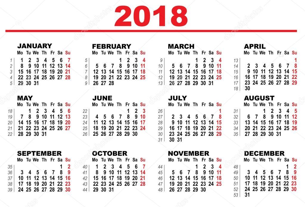 Rács naptár 2018 \u2014 Stock Vektor © orensila #117952282