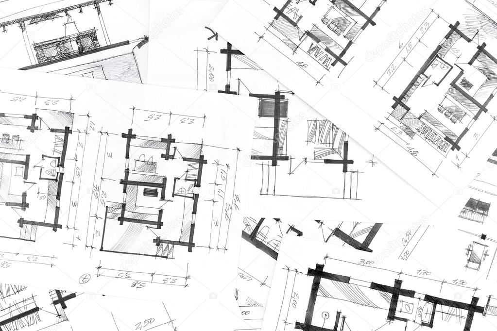 graphical sketches by pen architectural background \u2014 Stock Photo - background sketches